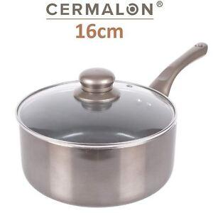 CERMALON LARGE 20CM COPPER CERAMIC 100/% NON-STICK SAUCEPAN WITH GLASS LID