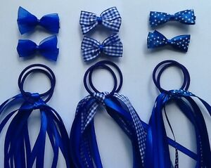 Royal-Blue-Gingham-School-Hair-Ribbon-Scrunchie-Bobble-Band-Clip-Slide-Bow