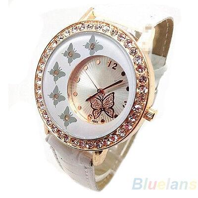 Womens Cool Butterfly Pattern Crystal PU Leather Band Quartz Wrist Watch B57U