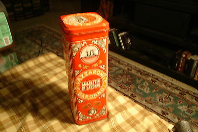 "Vintage Amarettini Di Saronno Lazzaroni Cookie Tin Canister 10"" Made In Italy"