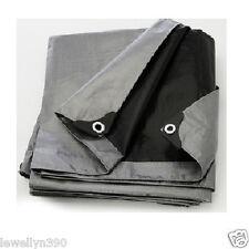Silver/Black Heavy Duty 8' x 10' Tarp Poly Tarpauline Motorcycle/Car/Boat Cover