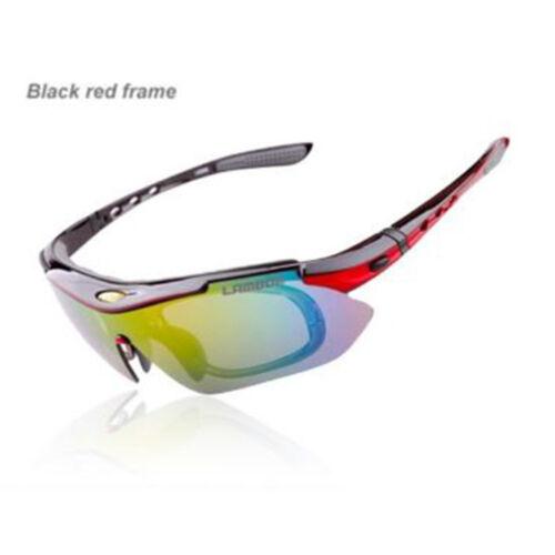 LAMBDA Cycling Bike Polarized Sunglasses Goggle UV400 5 Lenses w/TR-90 Frame