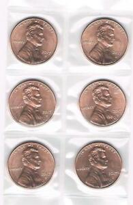 """3 /""""P/"""" /& 3 /""""D/"""" 2016 P/&D LINCOLN SHIELD CENT UNCIRCULATED COINS FROM BANK ROLLS"""
