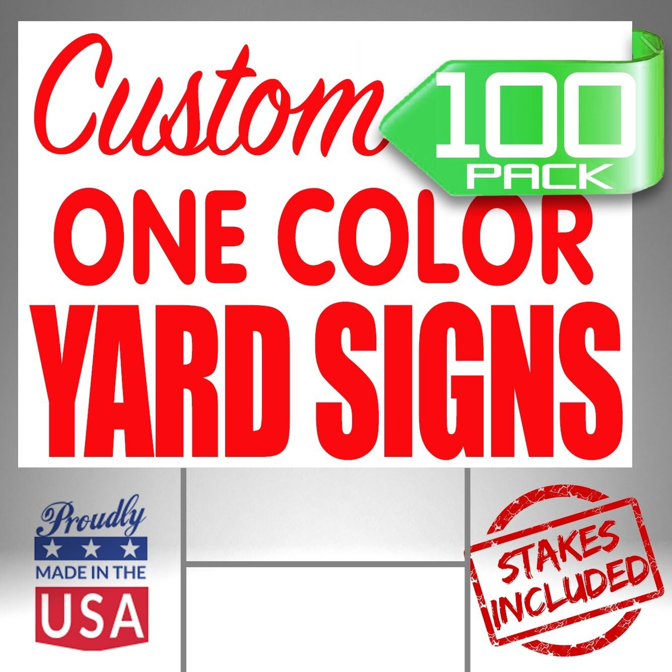 Stakes Included! Full Color Custom Design 25-18x24 Yard Signs 2 Sided