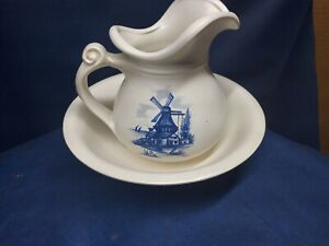 Vintage McCoy Pottery Pitcher And Bowl White & Blue Windmill Theme