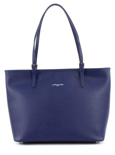 6bb80da9dae44 LANCASTER Adèle Shopper Tasche Schultertasche Bürotasche Leder Blau Bleu  Fonce