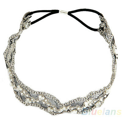 Womens Charismatic Fashion Lace Pearl Beads Headhand Hairband Hair Head Band