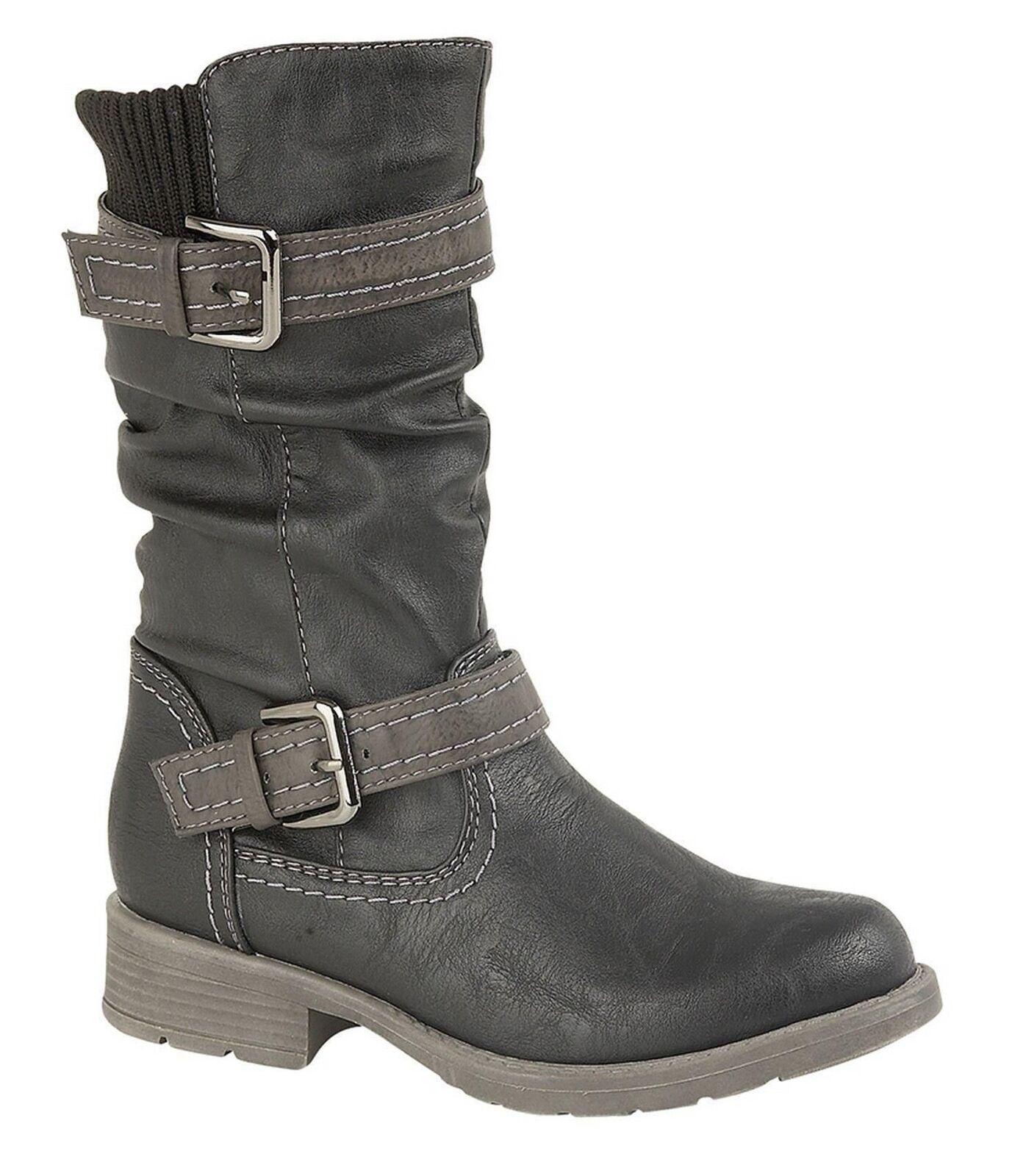 Boulevard G755A Girls High Leg Twin Buckle Zip Quilted Boots