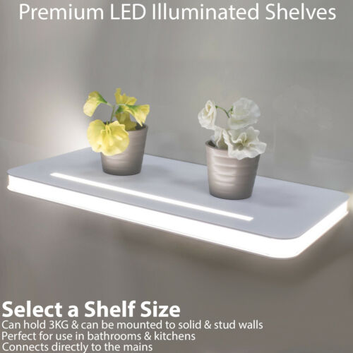 Illuminated DEL Floating Shelves ip44 Bathroom Kitchen Modern Wall Lighting Unit