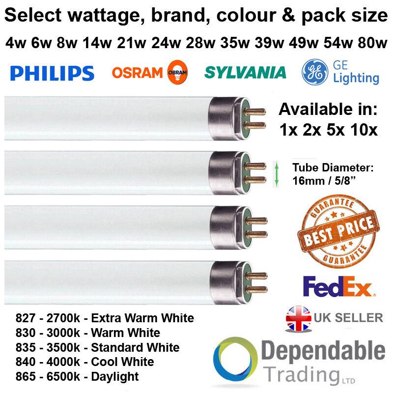 1 2 5 & 10 tubos fluorescentes de T5 4w 6w 8w 13w 14w 21w 24w 28w 35w 39w 49w 54w 80w