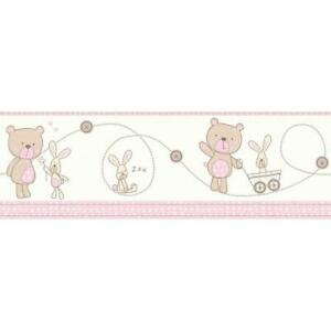 Decorline-Carousel-Bear-And-Boo-Wallpaper-Border-Pink-Bunny-Nursery-Baby-Girls