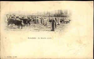 Kenchela-Le-Marche-Arabe-1900-Afrika-Africa-Vintage-Postcard-Viehmarkt-Natives
