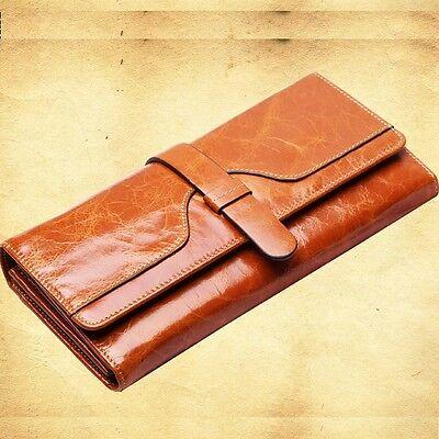 Fashion Women's Top Genuine Leather Wallet Clutch Purse Lady Long Handbag Bag