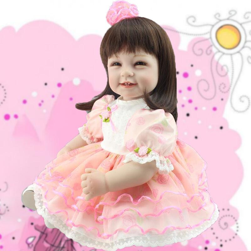 22  Muñeca reborn niño realista Pequeña Princesa Niña Bebé Cabello Largo De Vinilo