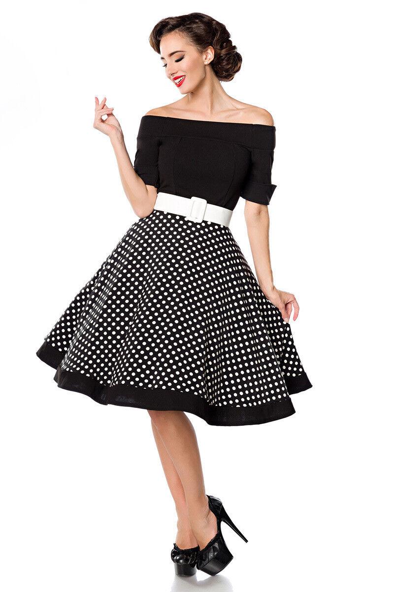 ATX 50052 50er Kleid Rockabilly Retro Vintage Swing gepunktet Dots schwarz weiß