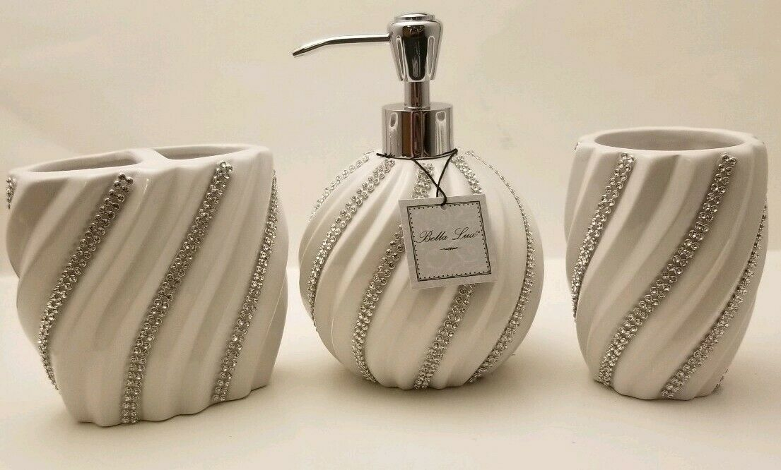 BELLA LUX Weiß CRYSTAL SWIRL Set Soap Dispenser Brush Holder Tumbler Rhinestone