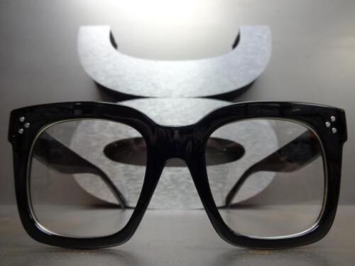 OVERSIZE VINTAGE RETRO NERD Style Clear Lens EYE GLASSES Thick Large Black Frame