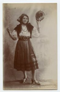 c 1910 Privately Issued PRETTY GYPSY DANCER w/ tambourine photo postcard