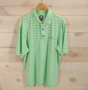 FootJoy-Men-039-s-L-Golf-Polo-Shirt-Mint-Green-Blue-Stripes-Embroidered-Pokegama