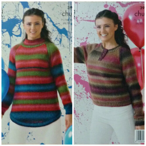 KNITTING PATTERN LadiesmButton Neck?High Neck Jumper Chunky King Cole 3960