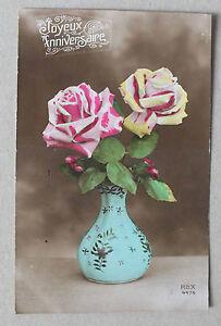Détails Sur Cpa Fantaisie Joyeux Anniversaire Avec Vase Et Fleurs Rex 4474