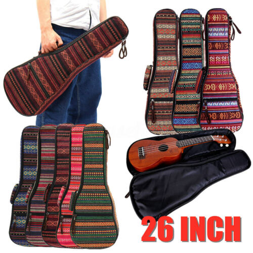26 Zoll Rucksack Ukulele Tasche Bunt Baumwolltuch Doppelgurt Gepolstert Gig Bag