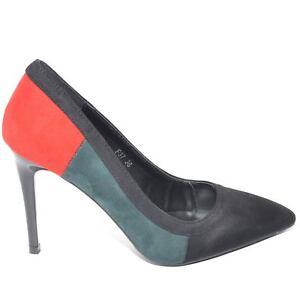 Decollete a punta nero con tacco a spillo bifasico a colori rosso e verde linea
