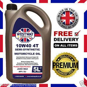 Details about 10W-40 Motorcycle Oil 4 Stroke JASO MA2 10W40 5L Westway  Lubricants