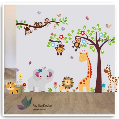 Giraffe Tree Flower Elephant Animal Nursery baby Butterfly Wall Sticker Decal