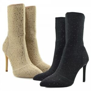 ladies nude black stretch sock glitter high stiletto