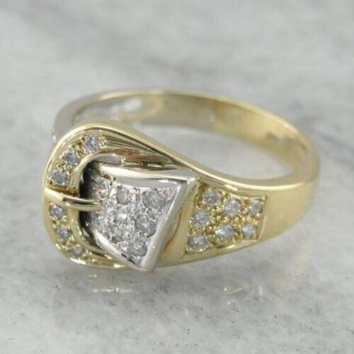14K Solide Or Jaune Blanc Saphir Bague Mariage Femmes Hommes Bijoux Cadeau Sz6-10