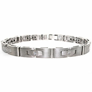 Details About 14k Brushed White Gold Men S Diamond Bracelet 0 67 Cts Mens 30 3g