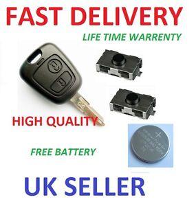 peugeot 206 2 button repair refurbishment remote key case switches battery ebay. Black Bedroom Furniture Sets. Home Design Ideas