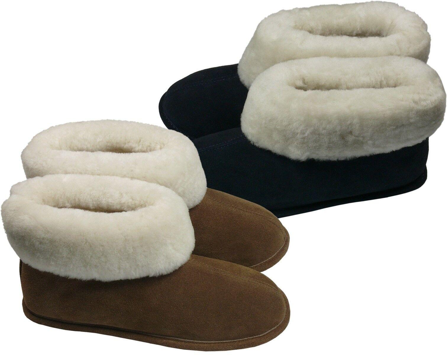 Extra Dicke Lammfellschuhe mit Ledersohle in 2 Farben Hauschuh Hausschuhe