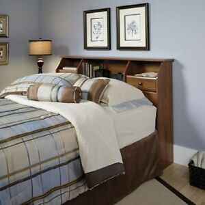 Headboard With Storage Queen Full Bed Bookcase Adjustable Shelves