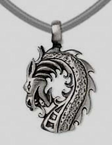 """Tête de dragon étain 1-3//8/"""" Grand Collier Pendentif ~ Avec Noir Velours de coton tour de cou"""