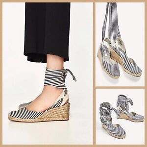 8a2d4fdb01c Details about Zara Espadrille Wedges Sz 5 White Blue Striped Ankle Tie Jute  Wedge Sandals New