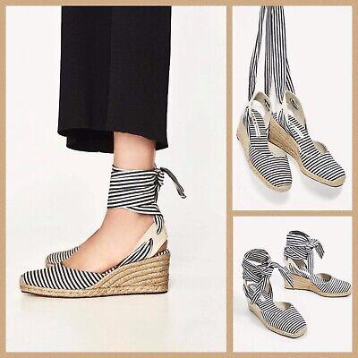 70effef421e Zara Espadrille Wedges Sz 5 White Blue Striped Ankle Tie Jute Wedge Sandals  New | eBay