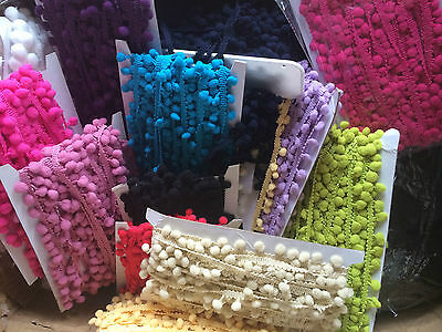 CLEARANCE BULK 10 Meter LOT MINI POM POMS - Available in 17 Colours