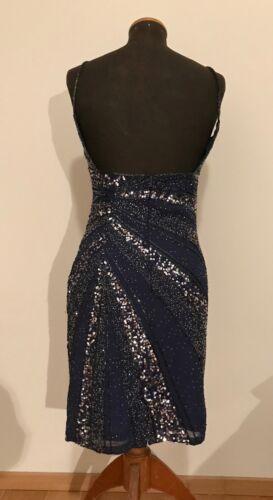 36 Gr Von Wneu silber Pailletten Blau Mit Kleid xgYqafx