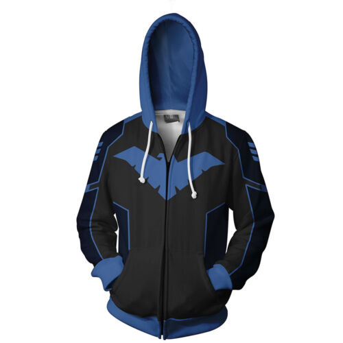 Batman Nightwing Robin Sweatshirt Hoodie Zip Up Coat Jacket Cosplay Costume