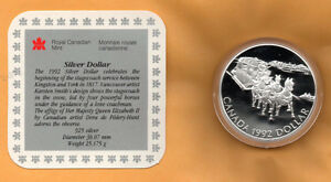 CANADA-PROOF-1992-925-STERLING-SILVER-DOLLAR-Stagecoach-IN-CAPSULE-amp-COA