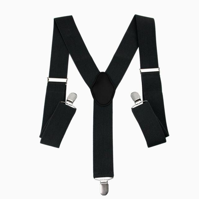 35mm Unisex Mens Braces Plain Black Wide /& Heavy Duty Suspenders Adjustable New