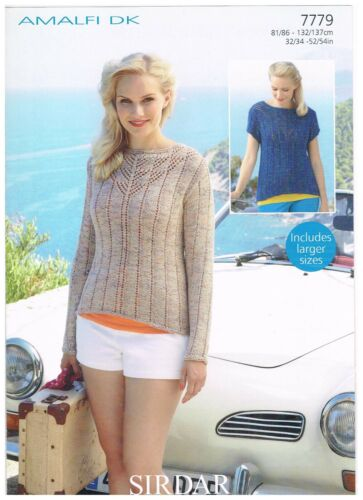 SIRDAR LADIES DOUBLE KNIT JUMPER KNITITNG PATTERN 7779 BRAND NEW