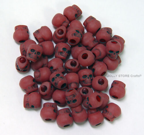 Flat Red color Skull Pony Beads for Goth paracord survival jewelry Halloween
