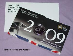 2009 ROYAL MINT LONDON OLYMPICS SPECIMEN COUNTDOWN £5 CROWN IN FOLDER