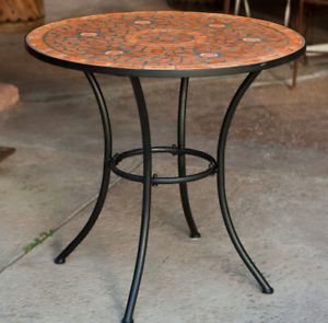 Details About Outdoor Bistro Table Mosaic Terracotta Tile Top Round Patio Deck Yard Dining New