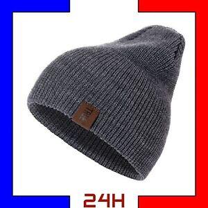 Bonnet-Laine-homme-unisexe-hiver-chaud-mode-Noir-Bleu-Marine-Gris-Acrylique