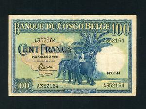 Belgian Congo:P-17a,100 Francs,1944 * Elephants * VF * RARE *