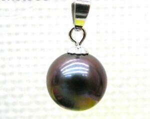 10-11 mm AAA+++ perfect round black south sea pearl pendant